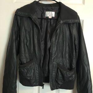 Xhilaration Dark Grey Faux Leather Bomber Jacket
